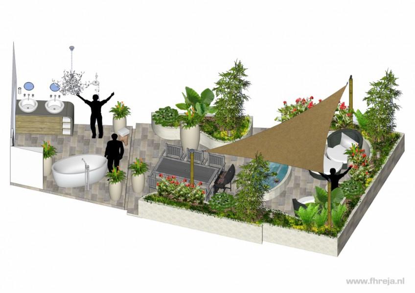 Interieurs - badkamer - dakterras - Bali - 3D - Fhreja - Ontwerpbureau Groene Leefomgeving