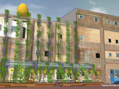 Fabriekstuin Honigcomplex - Nijmegen - Fhreja - 3D - tuinontwerp - bloemen - terras - moestuin - openbare ruimte - sociaal