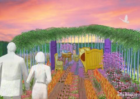 Vincent Binnenste Buiten - Appeltern 02 - Tuin - Sfeerbeeld - 3D - Vincent van Gogh - Fhreja - Ontwerpbureau Groene Leefomgeving